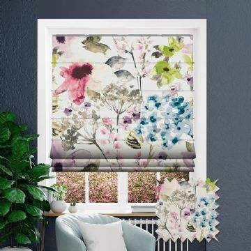Blue Roman blind in Floral Patterned Floretta Berry fabric